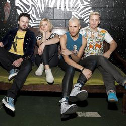 Branden Campbell, Elaine Bradley, Tyler Glenn and Chris Allen of Neon Trees pose for portraits prior to performing in concert at The Tabernacle on May 23 in Atlanta, Ga.