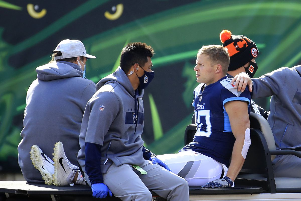 Adam Humphries #10 of the Tennessee Titans is carted off the field after suffering an injury on a play in the second quarter of the game against the Cincinnati Bengals at Paul Brown Stadium on November 01, 2020 in Cincinnati, Ohio.