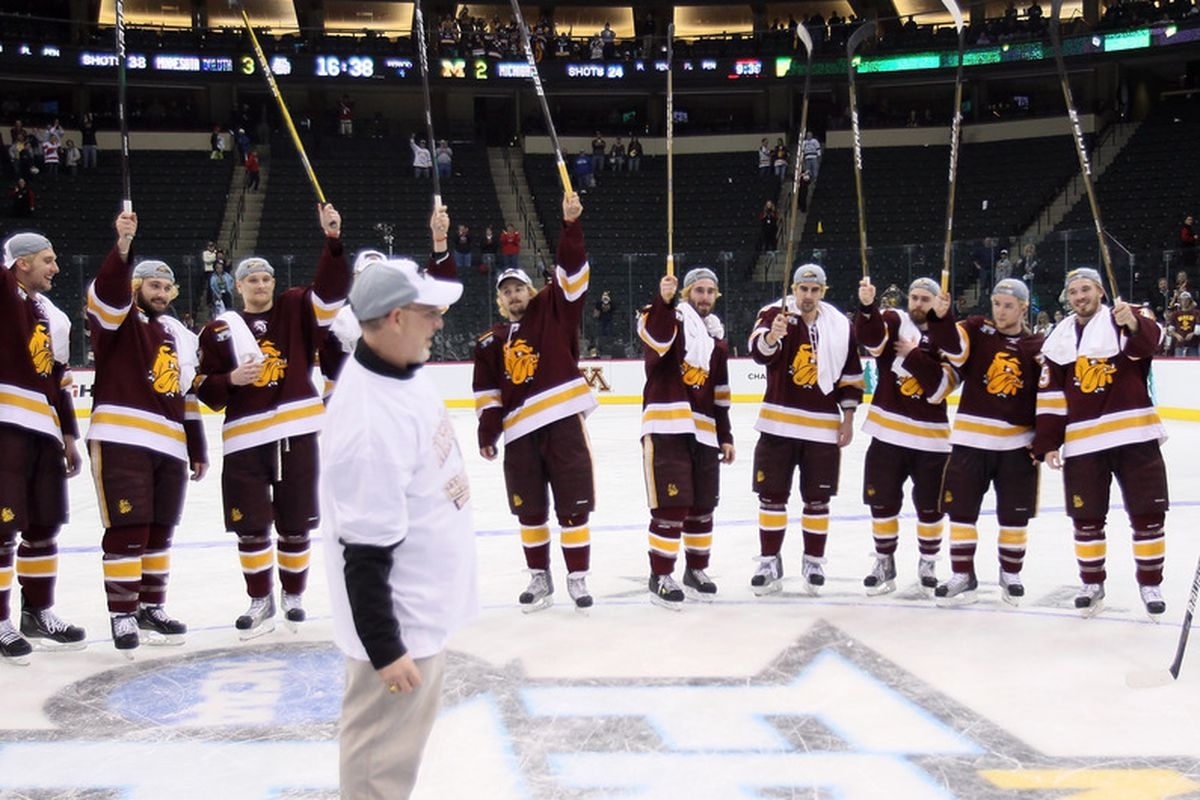 The Minnesota Duluth Bulldogs stand in the way of the Badgers in their quest for their last WCHA title.