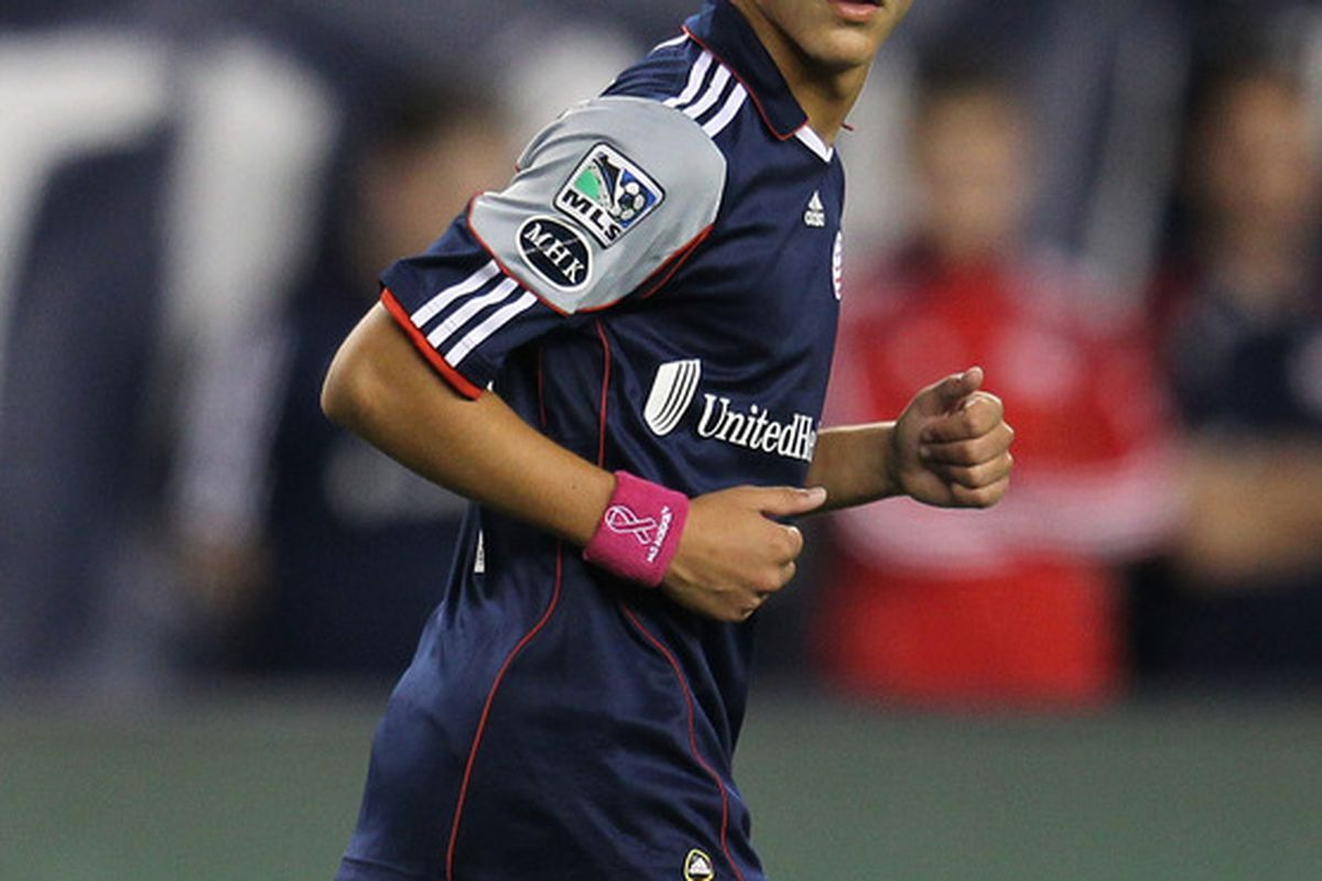 FOXBORO, MA - OCTOBER 8:   Diego Fagundez #14 of the New England Revolution runs into position during a game with San Jose Earthquakes at Gillette Stadium on October 8, 2011 in Foxboro, Massachusetts. (Photo by Jim Rogash/Getty Images)