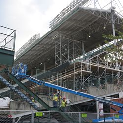 Scaffolding in the corner of the third base line upper deck, on the Waveland Avenue side