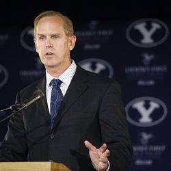 BYU Athletic Director Tom Holmoe announces going independent in football and joining the WCC for other sports and their contract wit ESPN. Wednesday, Sept. 1, 2010 Stuart Johnson, Deseret News