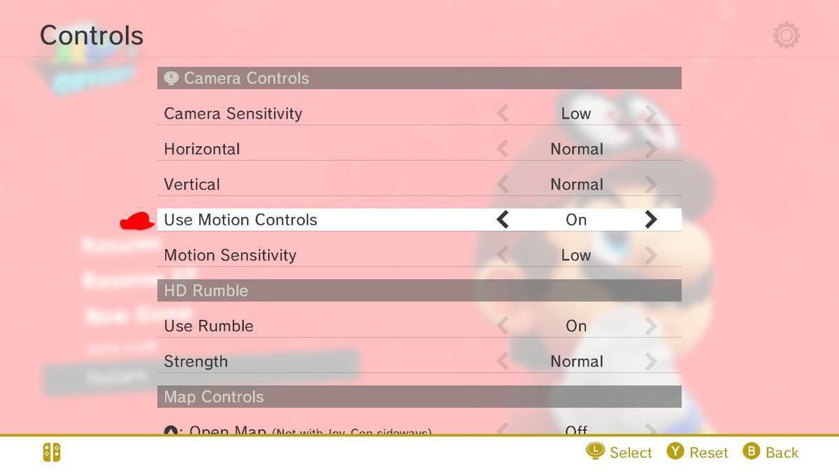 the controls menu in super mario odyssey
