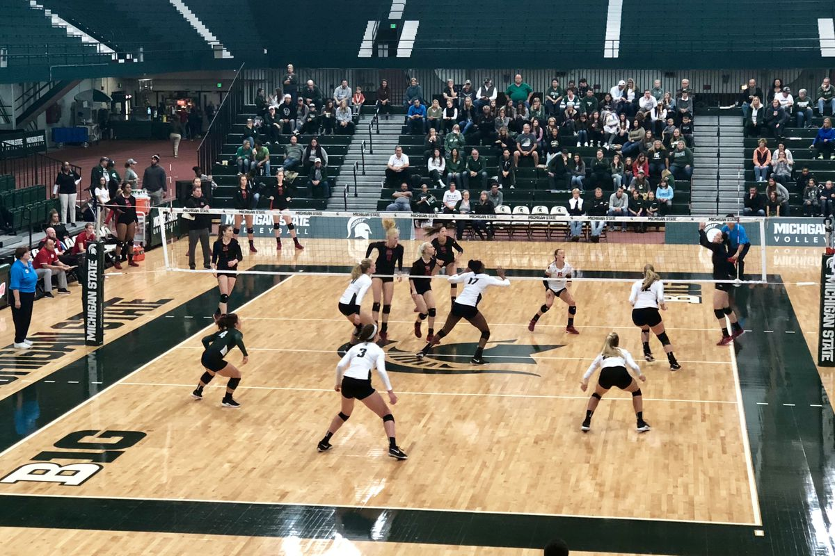 The Michigan State Spartans face the Rutger Scarlet Knights in volleyball at Jenison Field House Sept. 29, 2018.