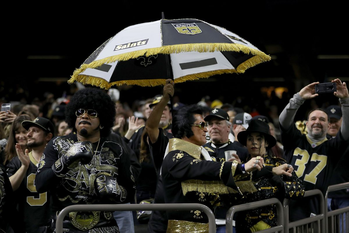 New Orleans Saints fans cheer during the NFC Championship game against the Los Angeles Rams, Jan. 20, 2019.