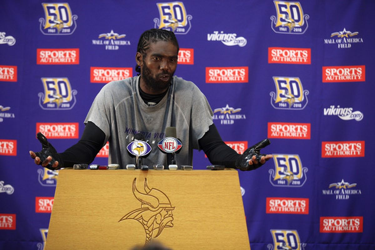 EDEN PRAIRIE MN - OCTOBER 7:  Minnesota Vikings wide receiver Randy Moss answers questions from the media during a press conference at Winter Park on October 7 2010 in Eden Prairie Minnesota.  (Photo by Adam Bettcher/Getty Images)