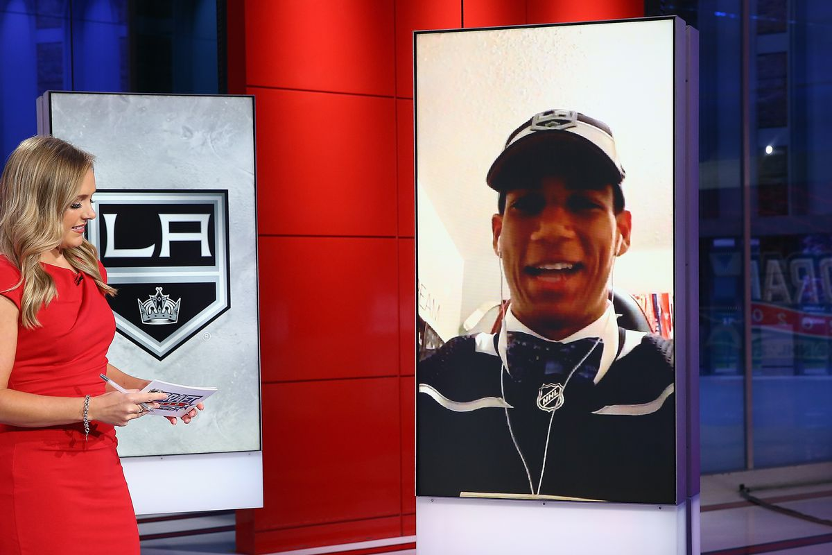 Jamie Hersch of the NHL Network interviews Quinton Byfield of Sudbury of the OHL after his selection by the Los Angeles Kings in the 2020 National Hockey League Draft at the NHL Network Studio on October 06, 2020 in Secaucus, New Jersey.