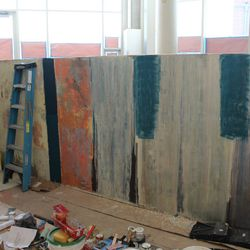 Testing of finish treatments for the walls.