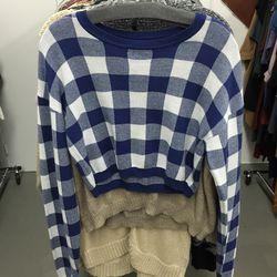Checkered crop sweater, $65