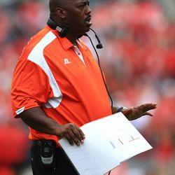 Former Browns LB Earl Holmes, now FAMU's coach.