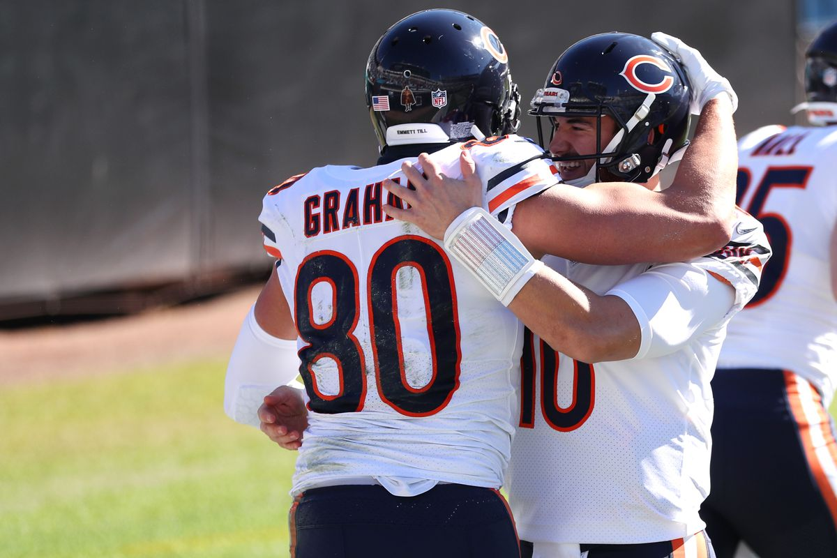 Jimmy Graham #80 of the Chicago Bears celebrates with Mitchell Trubisky #10 after scoring a touchdown against the Jacksonville Jaguarsat TIAA Bank Field on December 27, 2020 in Jacksonville, Florida.