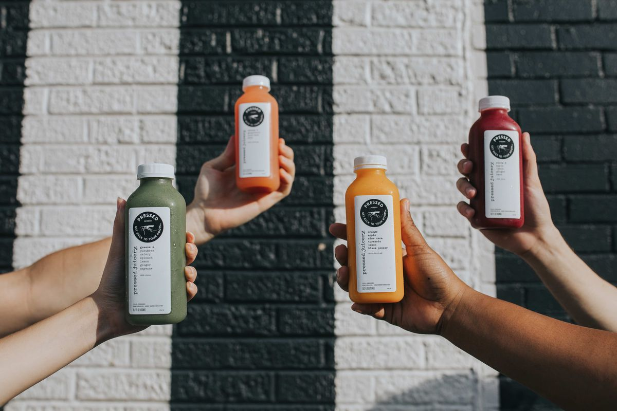 Various bottled offerings from Pressed Juicery.
