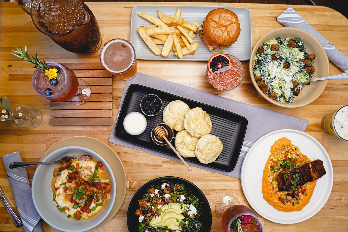 Assortment of Cerveza Jack's Southern-inspired dishes and drinks