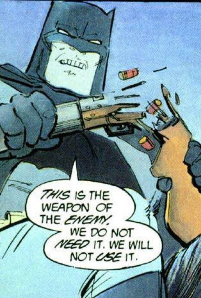 Batman orders a teenage gang of allies to throw away their firearms, in Frank Miller's The Dark Knight Returns (1986)