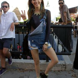 Overalls are here to stay, as evidenced on festivalgoer Dani Thorne.