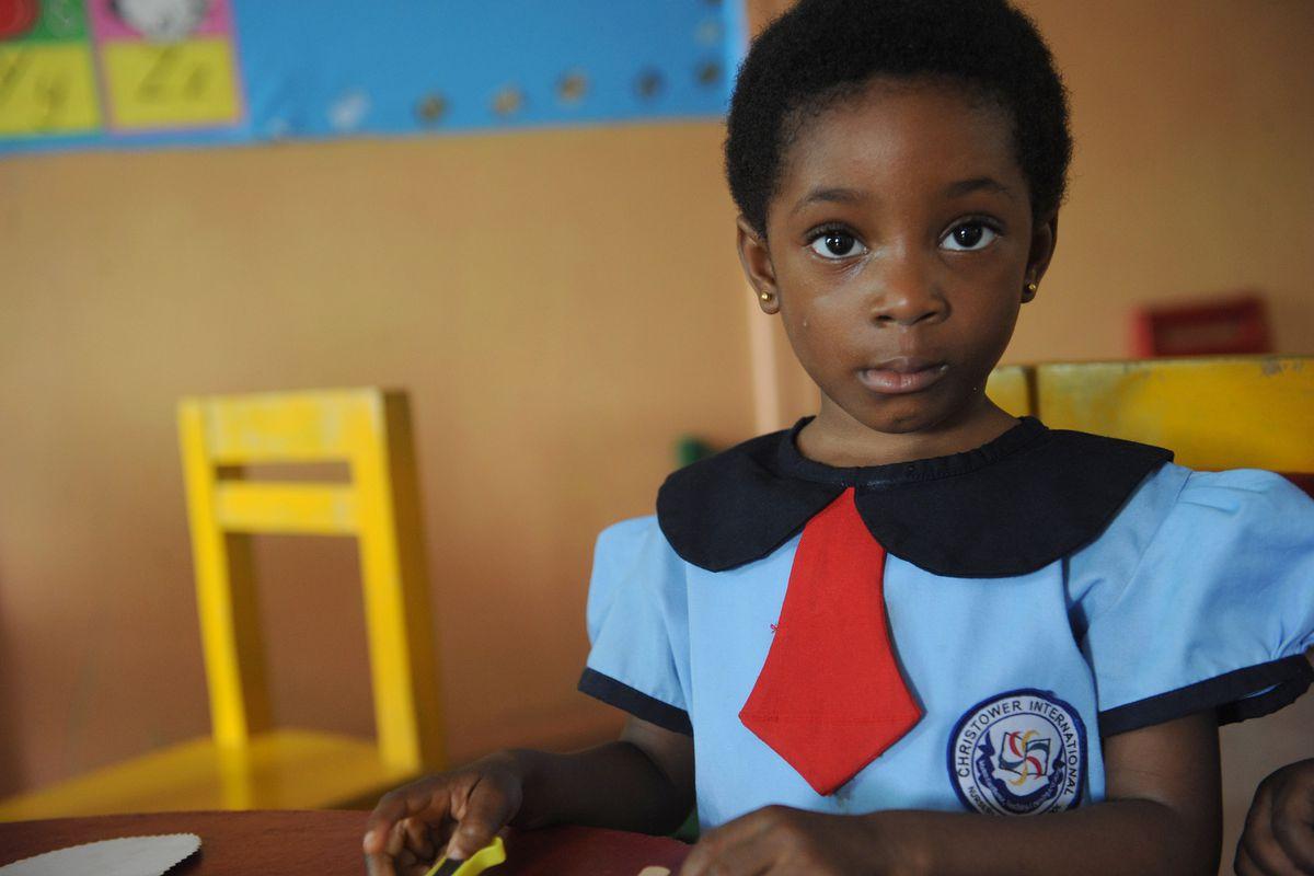 A Nigerian student at school in November 2012.
