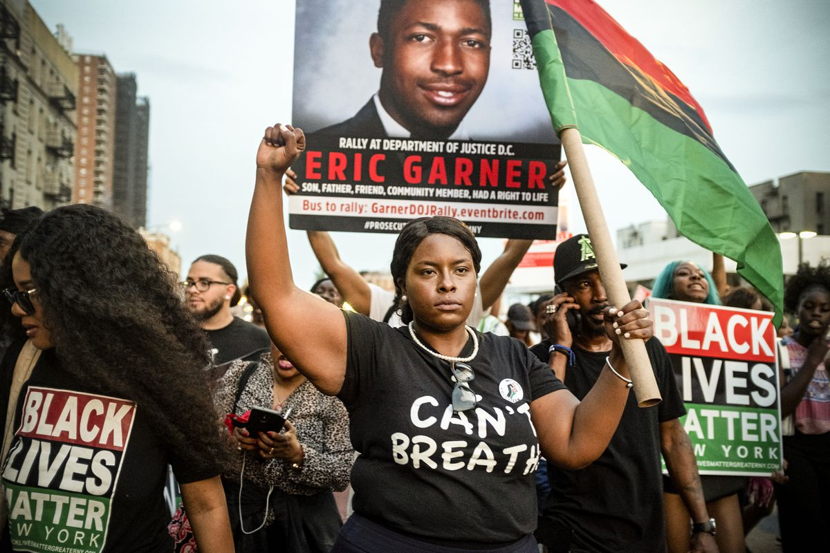Activists with Black Lives Matter protest in New YorkCity on July 16, 2019, in the wake of a decision by federal prosecutors who declined to bring civil rights charges against New York City police Officer Daniel Pantaleo in the 2014 chokehold death of Eri
