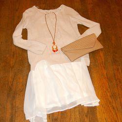 <b>Olive & Oak</b> Desert Sand Cable Knit Sweater, $72; <b>YA Los Angeles</b> Cream Dress, $48; <b>Urban Expressions</b> Neutral Weave Clutch, $52; <b>Robyn Rhodes</b> Rose Gold Druzy Necklace, $104