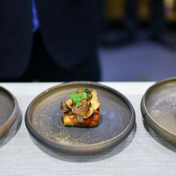 Cod with maple, sunchoke, truffle, by the Restaurant at Meadowood.