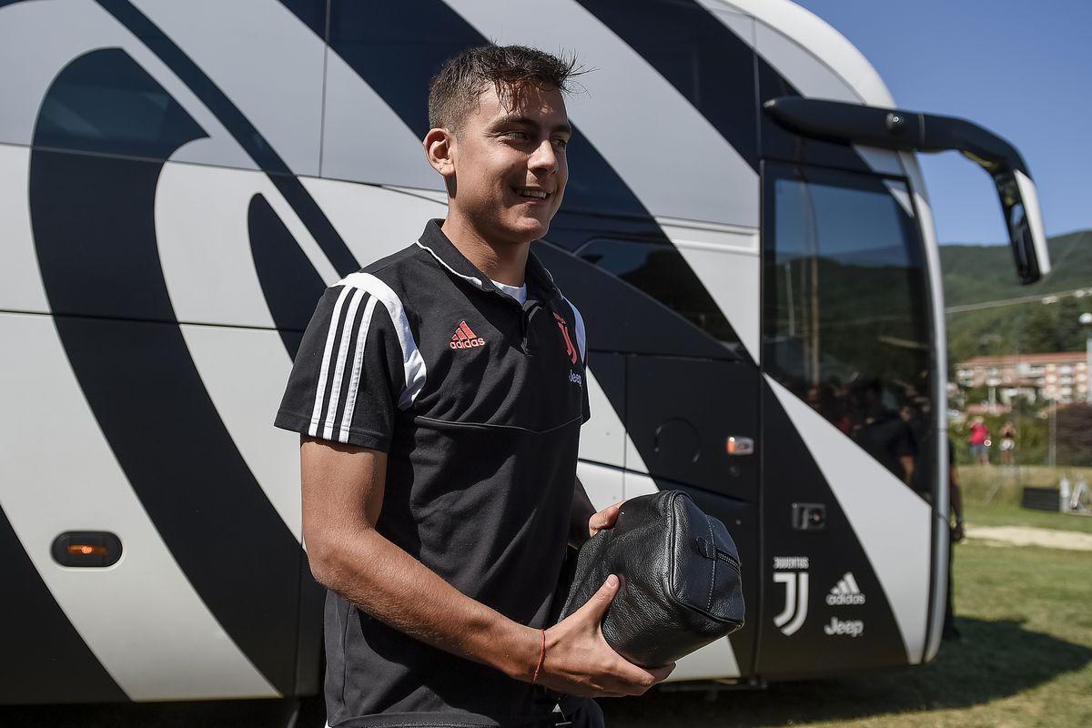 Paulo Dybala of Juventus FC arrives before the pre-season...