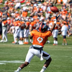 Broncos WR John Diarse reaches out to make a grab on the ball.