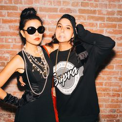 Blogger Jenny Wu of Good, Bad and Fab as Audrey Hepburn with Penelope Vintage's Chanelle Laurence as A$AP Rocky. Check out that grill!