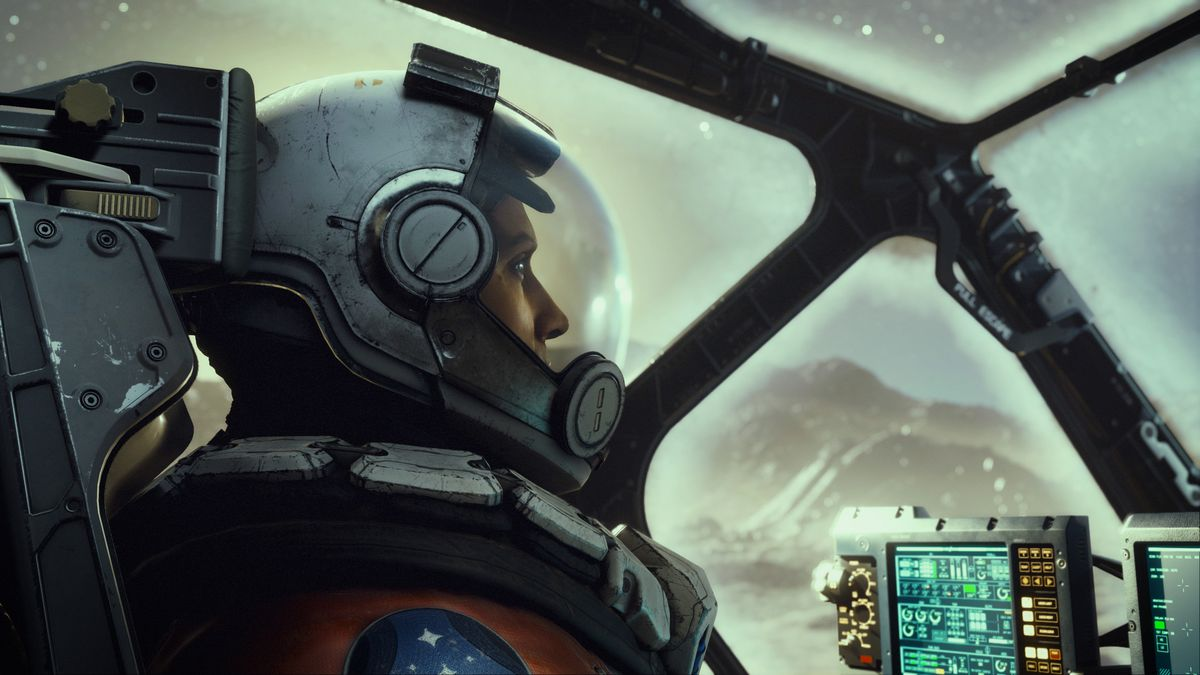 an astronaut in the cockpit of a spacecraft sitting on a planet in Starfield