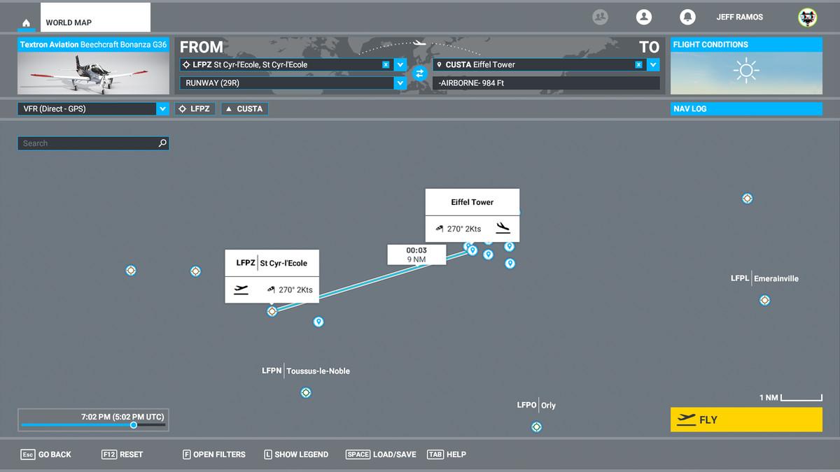 A navigation screen in Microsoft Flight Simulator