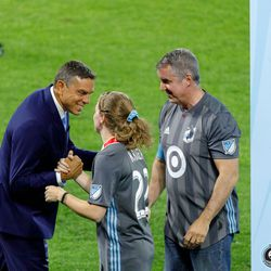 August 14, 2019 - Saint Paul, Minnesota, United States - Minnesota United sporting director Manny Lagos congratulates members of the Minnesota United Unified Team after their match against the Colorado Rapids Unified Team at Allianz Field.