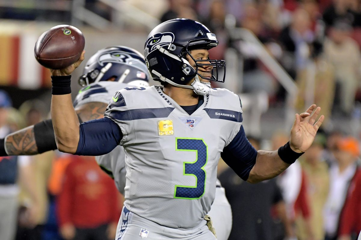 Seattle Seahawks quarterback Russell Wilson throws a pass against the San Francisco 49ers during the first half at Levi's Stadium.