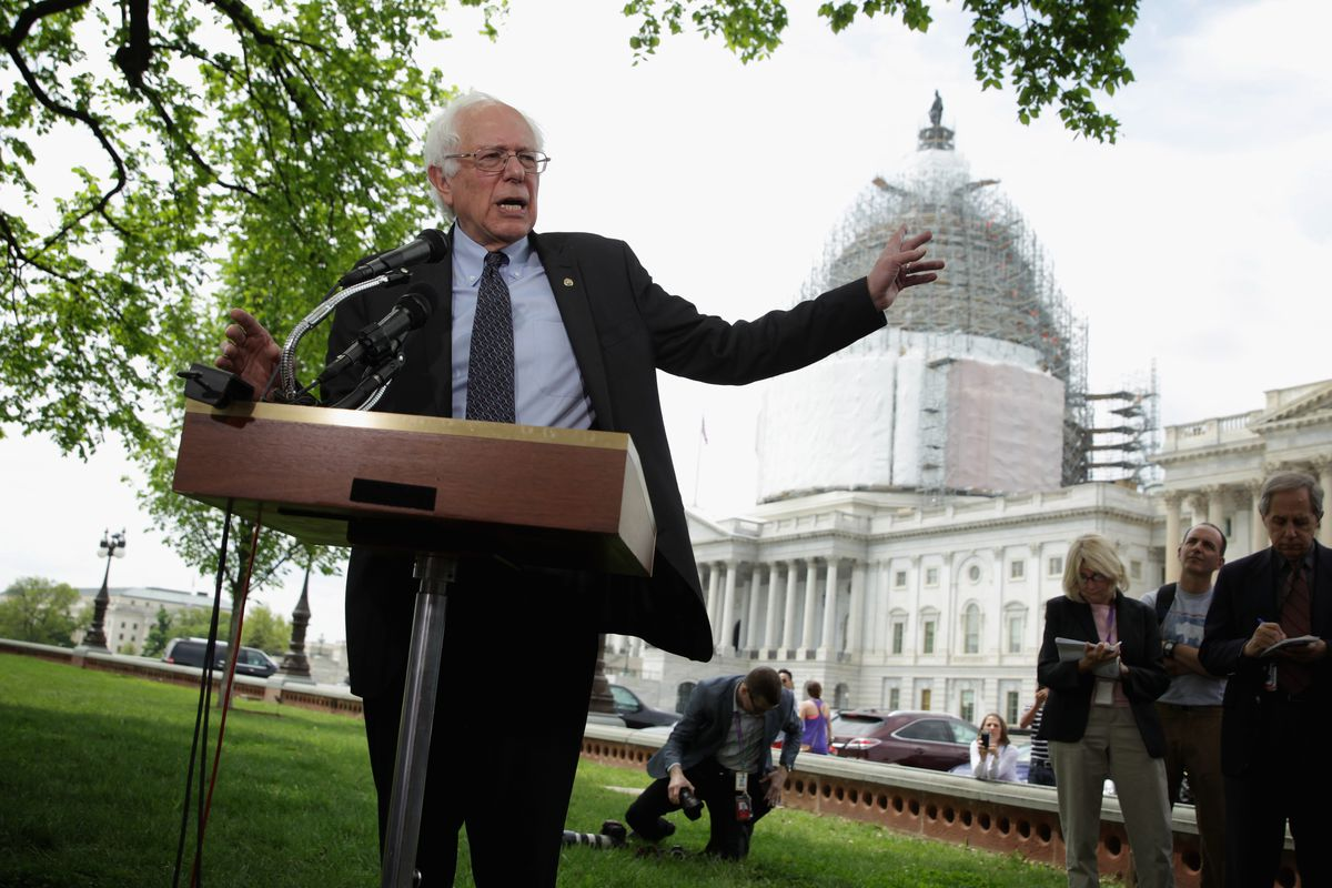 Bernie Sanders (I-VT) speaks on his agenda for America during a news  conference on Capitol Hill April 30. Alex Wong Getty Images d50debaab