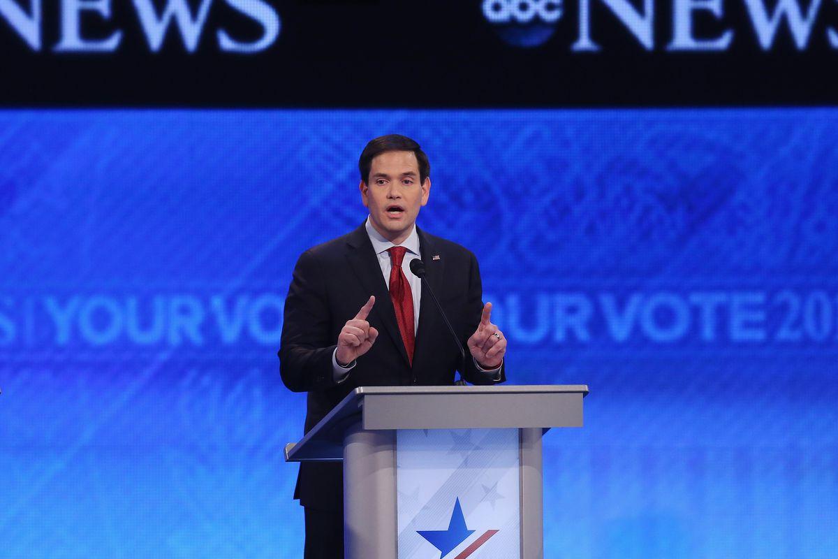 Marco Rubio kept repeating himself at the New Hampshire GOP debate.