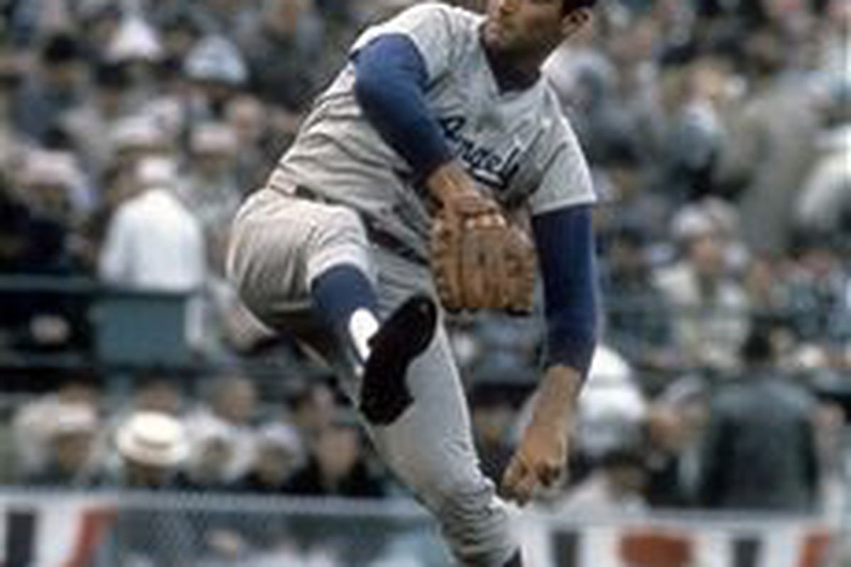 Sandy Koufax of the Los Angeles Dodgers, pitching against the Minnesota Twins in Game Seven of the 1965 World Series (Getty Images)