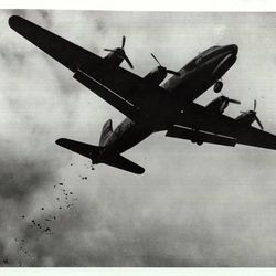 """Historic photographs shows plane driven by Col. Gail Halvorsen, known as """"The Candy Bomber"""" during the 1940s Berlin Airlift."""