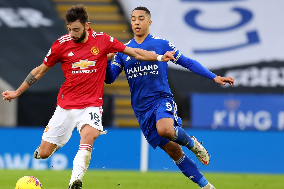 Bruno Fernandes of Manchester United and Youri Tielemans of...