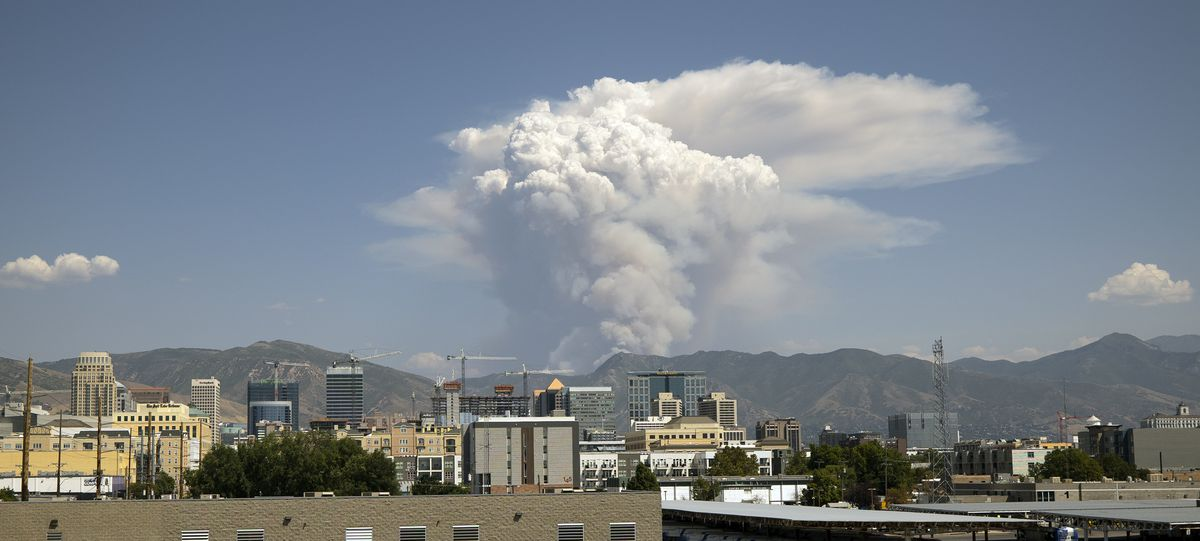 Smoke from the Parleys Canyon can be seen from Salt Lake City and for miles around on Saturday, Aug. 14, 2021.
