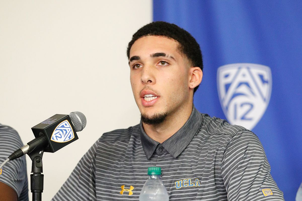 LiAngelo Ball speaks at a press conference