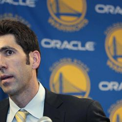 New Golden State Warriors general manager Bob Myers answers questions during a news conference in Oakland, Calif., Tuesday, April 24, 2012. He replaces Larry Riley, who will remain as the team's director of scouting.