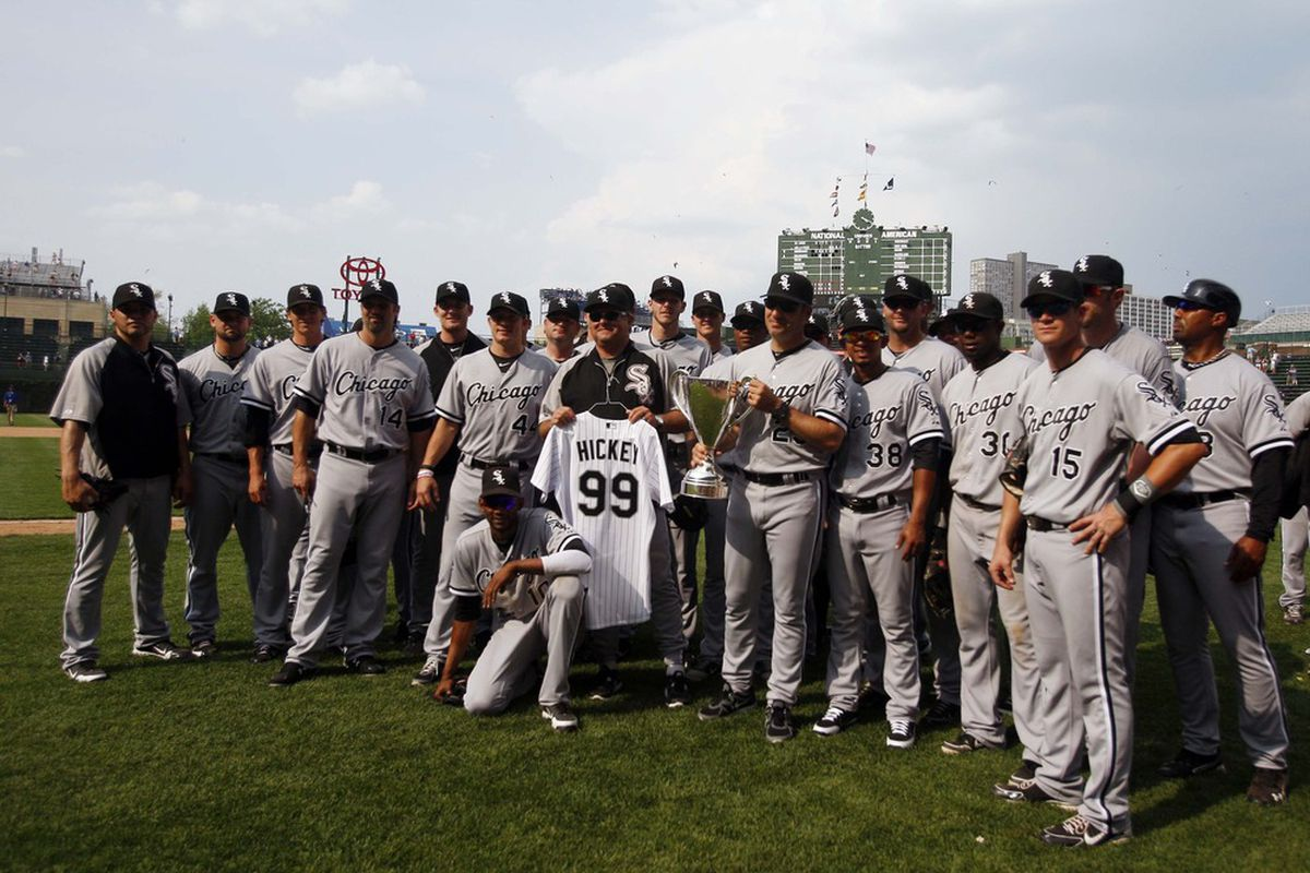 May 20, 2012; Chicago, IL, USA; Chicago White Sox players pose with the BP Cup after the game against the Chicago Cubs at Wrigley Field. The White Sox won 6-0. Mandatory Credit: Jerry Lai-US PRESSWIRE