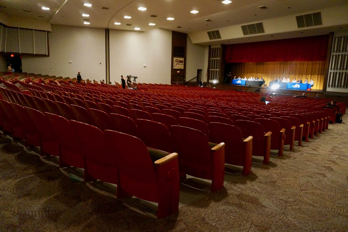 Fewer than 20 people filled the seats of the John Marshall auditorium Thursday.