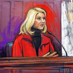 Courtroom drawing of Elizabeth Smart on the stand.