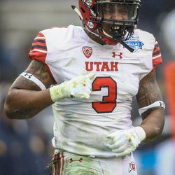 Utah Utes linebacker Donavan Thompson (3) reacts after sacking the West Virginia quarterback at the Zaxby's Heart of Dallas Bowl between the Utah Utes and the West Virginia Mountaineers in Dallas Texas on Tuesday, Dec. 26, 2017.