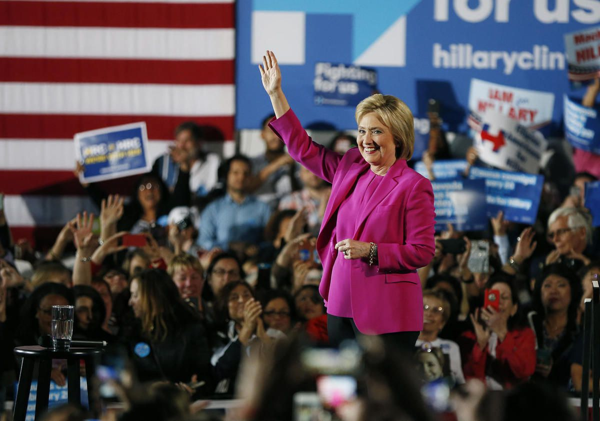 Democratic presidential candidate Hillary Clinton speaks at a rally Thursday, Feb. 18, 2016, in Las Vegas.