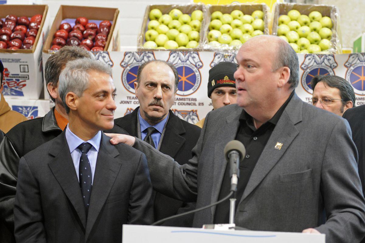 Teamster boss John T. Coli, (right) announces endorsement of Rahm Emanuel in 2011.