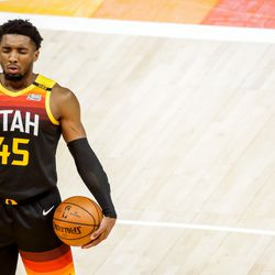 Utah Jazz guard Donovan Mitchell (45) closes his eyes before shooting from the line during the game against the Oklahoma City Thunder at Vivint Smart Home Arena in Salt Lake City on Tuesday, April 13, 2021.