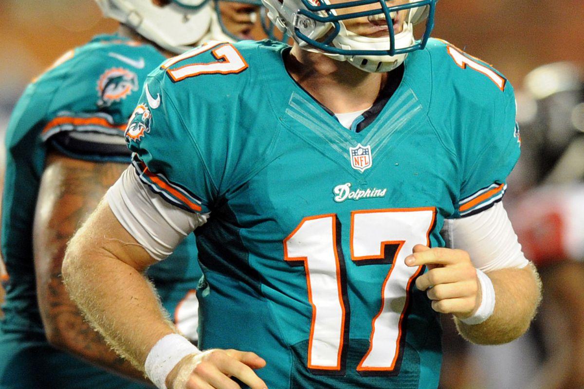Aug. 24, 2012; Miami, FL, USA; Miami Dolphins quarterback Ryan Tannehill (17) during the second quarter against the Atlanta Falcons at Sun Life Stadium. Mandatory Credit: Steve Mitchell-US PRESSWIRE