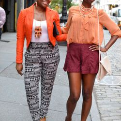 Rebecca and Shenae at Mercer and W. Houston. Rebecca is wearing a top from Forever 21, pants from Urban Outfitters, and Aldo shoes. Shenae is wearing head-to-to ASOS.