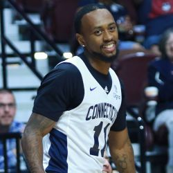 Ryan Boatright smiles after hitting a three at the buzzer to end the third quarter.