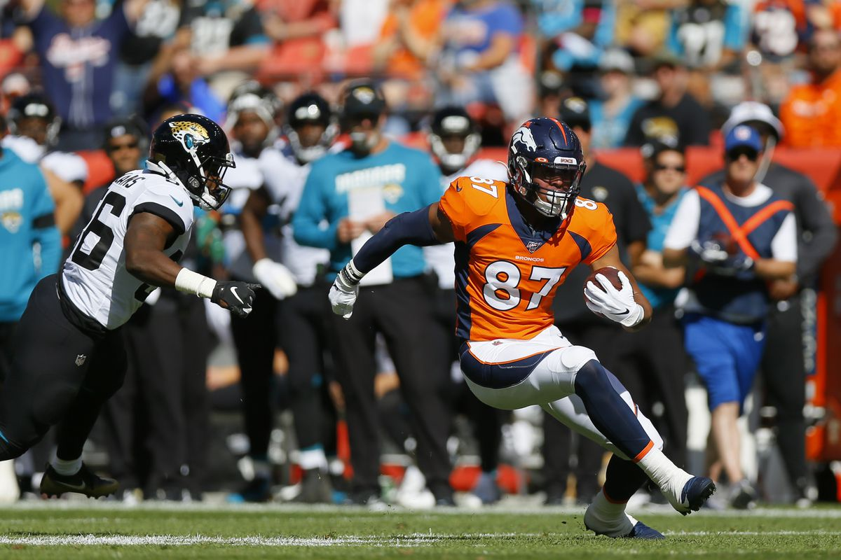 Tight end Noah Fant #87 of the Denver Broncos runs with the football past linebacker Quincy Williams #56 of the Jacksonville Jaguars on his way to a touchdown during the first quarter at Empower Field at Mile High on September 29, 2019 in Denver, Colorado.