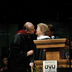 President Thomas S. Monson and his wife, Frances J. Monson, received Honorary Degrees at Utah Valley University's Commencement ceremonies. Sister Monson gets a loving kiss from her husband, President Thomas S. Monso,n after she was Hooded for her Honorary Degree on Friday, May 1, 2009.
